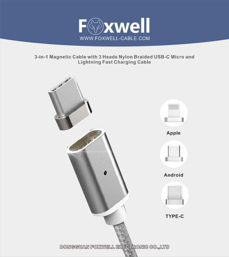 MAGNETIC USB CABLE WITH MICRO&LIGHTNING&TYPE-C